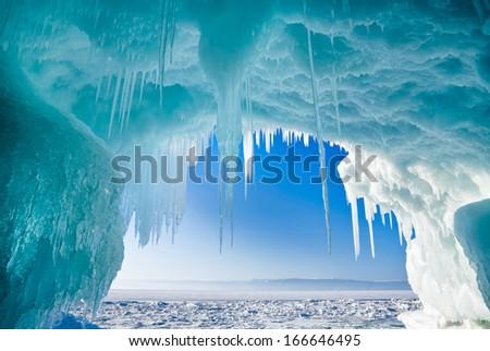 Winter Baikal. Olkhon Island. Icy grotto - stock photo