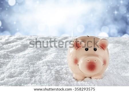 winter bank  - stock photo