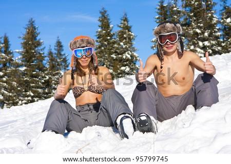 winter beach on ski vacation - stock photo