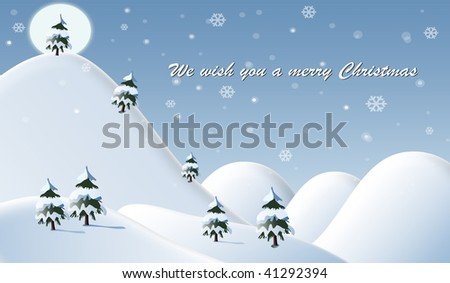 Winter beautiful scene with christmas message