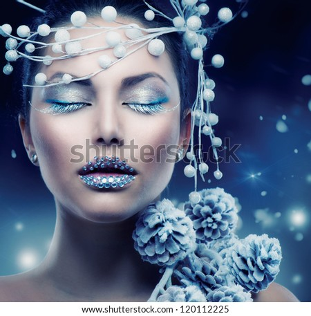 Winter Beauty Woman. Christmas Girl Makeup.Make-up - stock photo