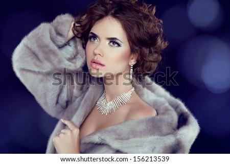 Winter Beauty Woman in Luxury Mink Fur Coat.  - stock photo