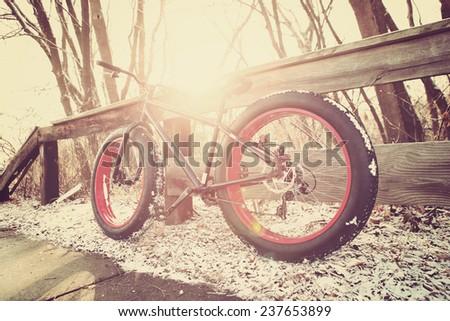 Winter biking. Fat tire bike. Instagram effect. - stock photo