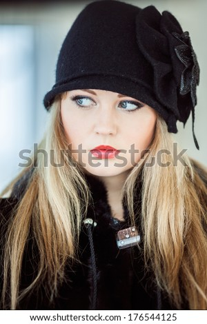 Winter, black cap, headdress