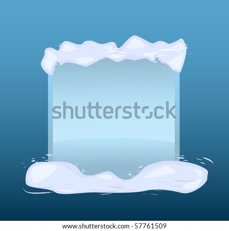 Winter blue banner with snow. Vector illustration - stock photo