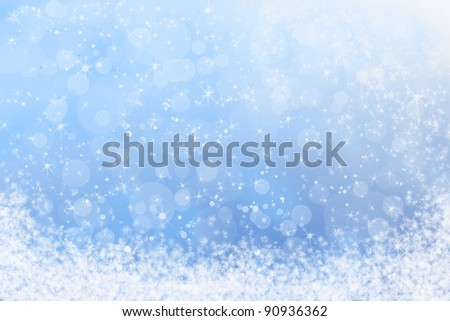 Winter Blue Sparkly Sky and Snow Background - stock photo