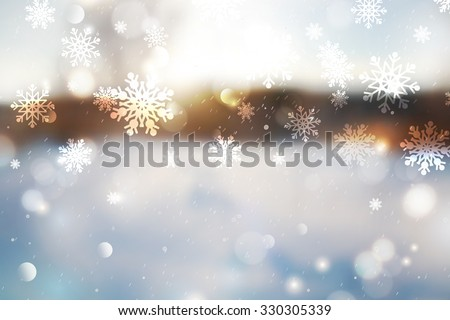 Winter blurred background, snowy landscape for christmas and new year design