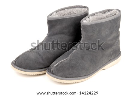 Winter boots on white