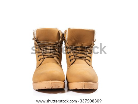 Winter boots on  white background - stock photo