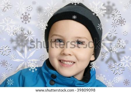 winter boy with snowflakes - stock photo