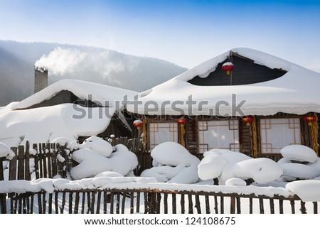 winter cabin - stock photo