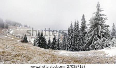 winter calm mountain landscape - stock photo