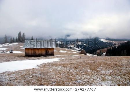 winter calm mountain landscape - stock photo
