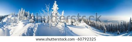 Winter calm mountain landscape (Carpathian Mountains, Ukraine). Eight shots stitch image. - stock photo