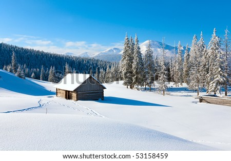 winter calm mountain landscape with shed and mount ridge behind (view from Kukol Mount to Goverla, Carpathian Mountains, Ukraine)