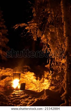 Winter campfire - stock photo