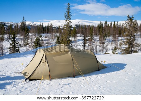 winter camping in norway - stock photo