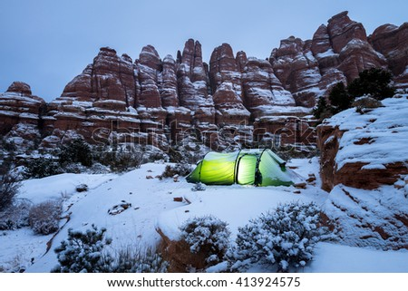 Winter camping in the Utah desert.