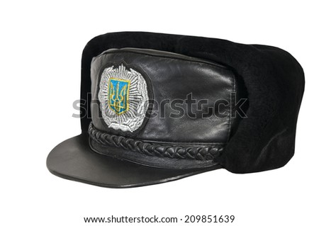 Winter cap of the Ukrainian police officer on a white background. - stock photo