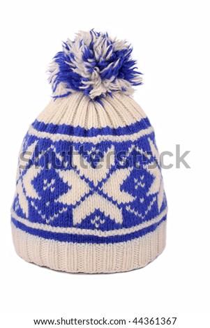 winter cap on whaite background - stock photo