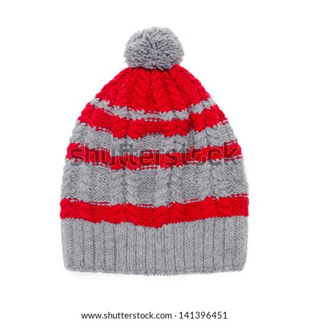 winter cap on white background - stock photo