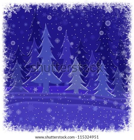 winter card - stock photo