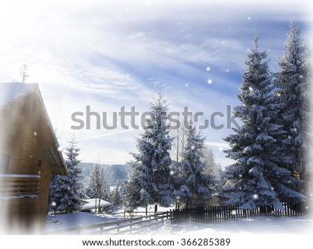 winter card. Mountain cabin . Snowy fir trees background