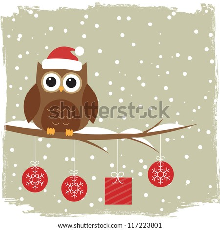 Winter card with cute owl.Raster version - stock photo