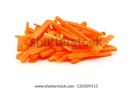 winter carrot cut in julienne on a white background - stock photo