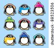 Winter cartoon penguin stickers. Also available in vector format. - stock photo