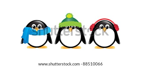 Winter cartoon penguins isolated on white. Also available in vector format. - stock photo