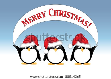 Winter cartoon penguins wearing Santa hats and holding a Merry Christmas banner. Also available in vector format. - stock photo