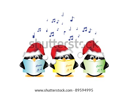 Winter cartoon penguins wearing Santa hats and singing Christmas Carols. Isolated on white. Also available in vector format. - stock photo