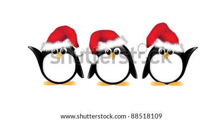 Winter cartoon penguins wearing Santa hats. Isolated on white. Also available in vector format. - stock photo