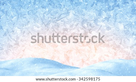 winter christmas background. snow drift and frost ornament  - stock photo