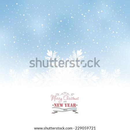 Winter Christmas Background With Snow And Snowflakes - stock photo