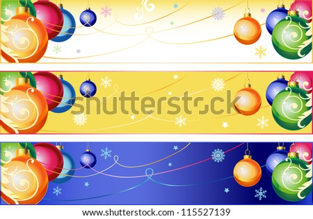 Winter christmas banners with balls for winter holidays.