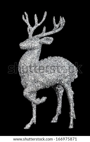 Winter christmas card with deer (elk) isolated on black background - stock photo