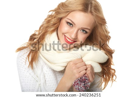 Winter, christmas, holidays concept. Smiling beautiful woman in scarf over white background - stock photo