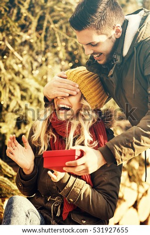 Winter, Christmas, outdoor, love concept. Happy couple.