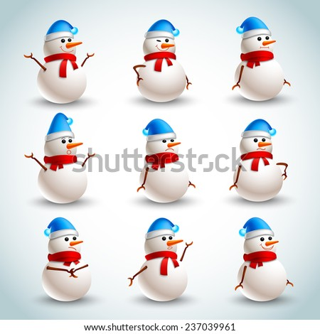 Winter christmas snowman emotions icons set isolated  illustration - stock photo