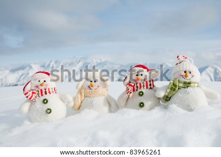 Winter Christmas Snowman Team Mountains Copy Stock Photo Royalty
