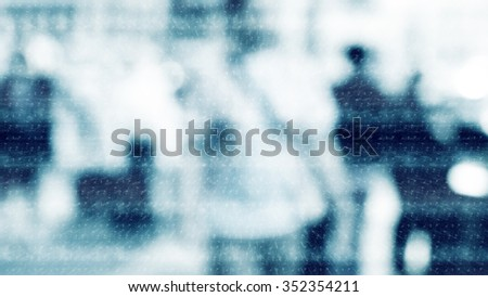 Winter city commuters with snow. Blurred image of people walking on the street. back home after work. Defocused figures of people with snowing effect and frost. - stock photo