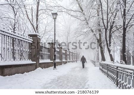 Winter city park in morning - stock photo
