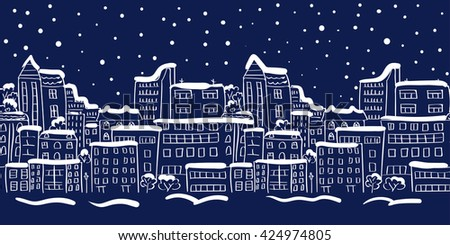 Winter cityscape seamless border. Panorama. Doodle raster illustration. - stock photo