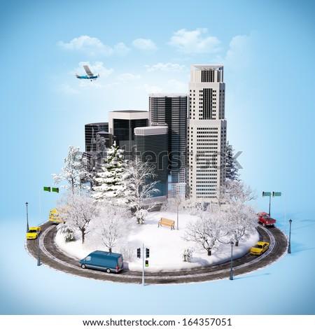 Winter cityscape. Unusual winter background - stock photo
