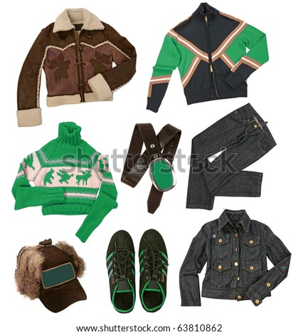 winter clothes collection - stock photo