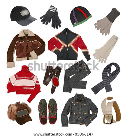 winter clothes for men - stock photo