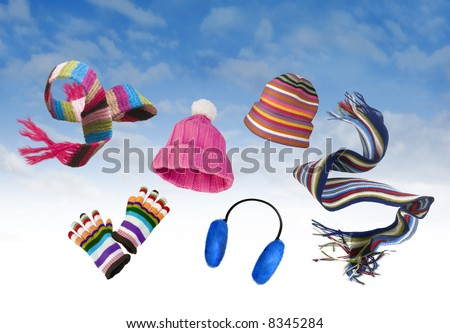 Winter clothing floating in the wind - stock photo
