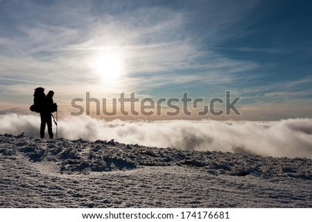 Winter clouds on the ridge of Velka Fatra mountains,  Western Carpathians, Slovakia.